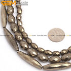 "Natural Stone Pyrite Gemstone Beads For Jewelry Making 15"" Faceted Olivary"