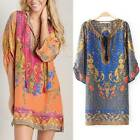 Vintage Ethnic Boho Totem Floral Print Chiffon Mini Dress Kaftan Long Top Blouse
