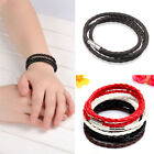 1pcs Unisex Men's Genuine Braided Leather Steel Magnetic Clasp Bracelet 4colors