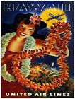 4863.Hawaii.united airlines.woman holding lai.POSTER.Decoration.Graphic Art