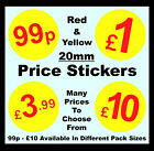 20mm Red & Yellow Price Point Stickers / Sticky Swing Tag Labels £2.99, £5, £10