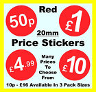 20mm Red Shop Price Point Stickers / Sticky Labels / Swing Tag Labels 50p 99p £1