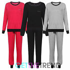 Womens Plain Black Grey Round Neck Casual Fleece Lined Top Bottoms Tracksuit
