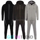 MENS PLAIN PIQUE COTTON TRACKSUIT MENS FULL HOODED TOP AND BOTTOMS SET TRACKIES