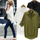 Womens Batwing Short Sleeve Down Collar Loose Chiffon Shirt T-Shirt Top Blouse