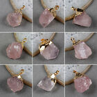 Hot Unpolished Rough Natural Rose Quartz Pendant Electroformed Golden HG067