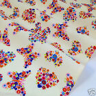 per metre/ FQ CREAM  BUTTERFLY / HEART polycotton fabric dressmaking/craft