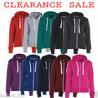 Womens Ladies & Girls Plain Hoodies Sweatshirt Fleece Zip UK 8-26