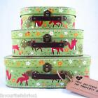 GREEN FOREST FOX & FRIENDS SUITCASES - SET OF 3 or SINGLE - STORAGE suitcase