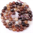 6 8 10mm Natural Round Faceted Banded Agate Gemstone Beads Spacer Strand 15""