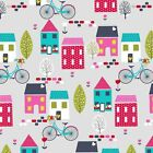 AROUND TOWN GREY  - STUDIO E - COTTON FABRIC CUTE CHILDREN HOUSES BIKES