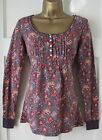 New Fat Face Ladies Red Purple Brown Ivory Floral Print Top Sz 8 10 12 14 16 18