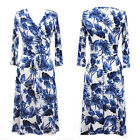 BLUE/WHITE LEAF Knee Length MAXI DRESS Jersey FAUX WRAP Boho CRUISE Travel S M L