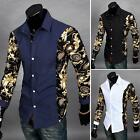 Fashion Mens Luxury Stylish Casual Dress Slim Fit T-Shirt Casual Long Sleeve A10