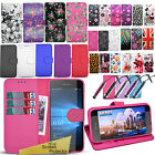 Flip Wallet Leather Case Cover With Card Slot For Nokia Lumia Phone Models