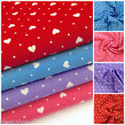 TINY HEARTS & spot 100 % cotton fabric red pink blue & lilac ROSE & HUBBLE