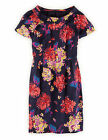 Boden Women's Brand New Roll Collar Dress Navy Blue Statement Floral with Silk