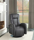 NEW WESLEY MODERN BLACK or WHITE BYCAST LEATHER POWER RECLINER SWIVEL CHAIR