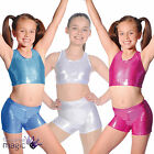 Girls Metallic Gymnastics Costume Gymnast Dance Gym Trampolining Crop Top Shorts