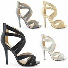 NEW LADIES HIGH HEEL PEEP TOE ANKLE STRAPPY PARTY SANDALS WOMENS SHOES SIZE