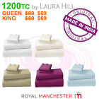 NEW 1200TC CVC COTTON QUEEN or KING SIZE BED SHEET SET BY LAURA HILL