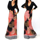 BEAUTIFUL BLACK & ASIAN RED PRINT Jersey MAXI DRESS Faux Wrap X-Long BOHO S M L