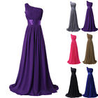 Long PURPLE Chiffon Bridesmaid Evening Party Ball Gown Cocktail Prom Dress 10 12