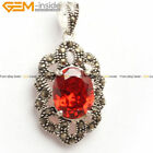 Fashion Lady marcasite silver pendant with 10x12mm oval bead+Free gift box/chian