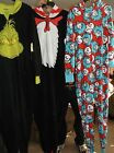 NWT Dr. Seuss Licensed Union Suit One Piece Pajamas  Loungewear Hooded Adult