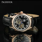 PACIFISTOR MENS LUXURY TRANSPARENT MECHANICAL STEAMPUNK WRIST WATCH LEATHER BAND