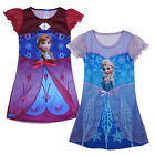 Girl Princess Queen Frozen Anna Elsa Sleepwear Dress Pajamas 3-8Y Kids Nightwear