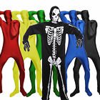 Men Women Scary Skintight Slinky Skeleton Morphsuit Bodysuit Pure Color Outfit
