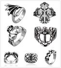 Unisex Stainless Steel  Cross Wing  Heart Claw Shape Band Ring US size 7,8,9