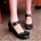 Trendy Women's Mary Janes Buckle Strap Low Heel Pumps Lolita Bowknot Shoes UK EW