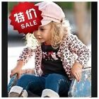 New Girls Outfits Sets leopord Coat+owl T-Shirt+Jeans Size 3.4.5.6.7