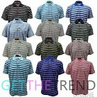 Mens New Stripe Polo Top Tshirt Men's Collared Collar Tee Shirt Mens Summer Top