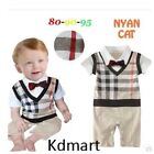 New Baby checked Romper Faux Tuxedo Outfit Christening Wedding Functions 6M-24M