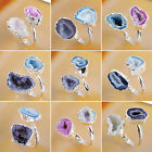 Adjustable Dazzling Colorful Agate Druzy Geode Ring Electroformed Silver HS124