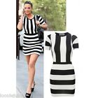 Tulisa Celebrity Inspired Monochrome Block Stripes Short Sleeves Bodycon Dress