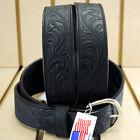 NEW SILVER CREEK BLACK CASUAL FORMAL WESTERN SCROLL TOOLED LEATHER MEN'S BELT