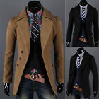 Mens Fashion Casual Trench Coat Winter Long Jacket Single Breasted Overcoat Top
