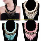 Fashion Gold Chain Multicolor Rope Acrylic Beads Statement Bib Pendant Necklace