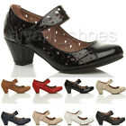 WOMENS LADIES MID BLOCK HEEL MARY JANE VELCRO CUT OUT BROGUE COURT SHOES SIZE