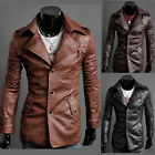 NEW Men's Slim Fit Long PU leather Jacket Large Lapel Single-breasted Coats