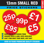 13mm Bright Red Price Point Stickers / Sticky Labels / Swing Tag Labels £1 - £11