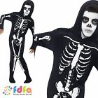 HALLOWEEN HORROR SKELETON BONES ONESIE -age 4-12 - kids boys fancy dress costume