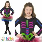 GIRLS HALLOWEEN NEON SKELETON GIRL TUTU - 4-12 - kids girls fancy dress costume
