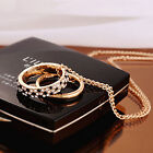 New Double Ring Plated Crystal Chain Long Necklace Pendants Gift Couple