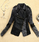 Cool Sexy Womens Lady Faux Leather Coats Short Motorcycle Jacket Outerwear UK EW