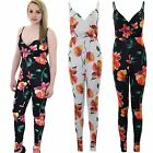 Ladies Sleeveless Adjustable Strap Wrap V Neck Crepe Floral All In One Jumpsuit